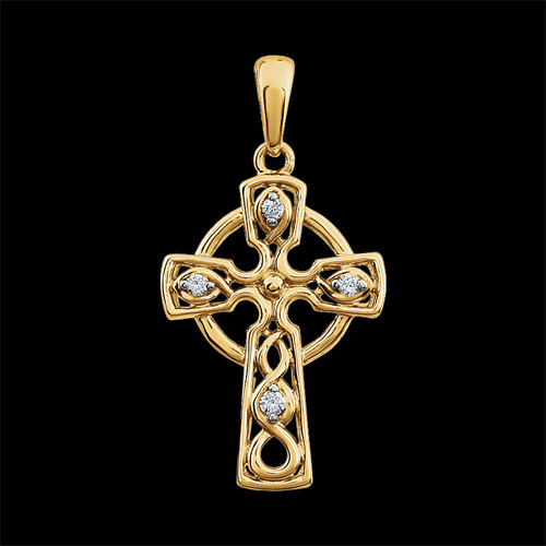 Diamond Celtic Cross Pendant Gracious Rose