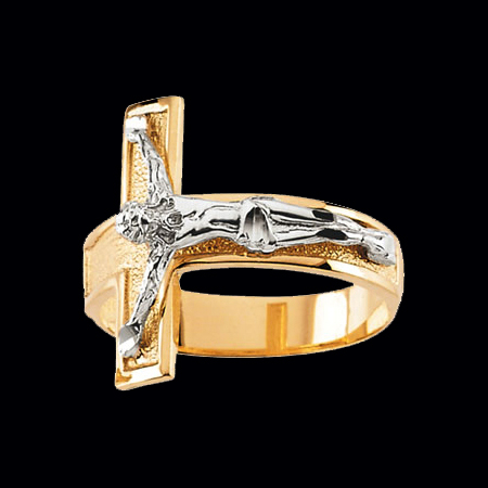 Men S Two Tone Gold Crucifix Ring