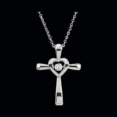 Rhythm Diamond Heart Cross Necklace Gracious Rose
