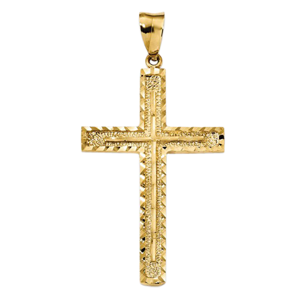 14k Gold Diamond Cut Cross Pendant