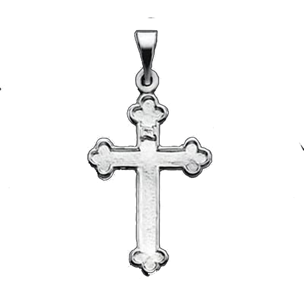 Dainty Platinum Bud Cross Pendant Gracious Rose