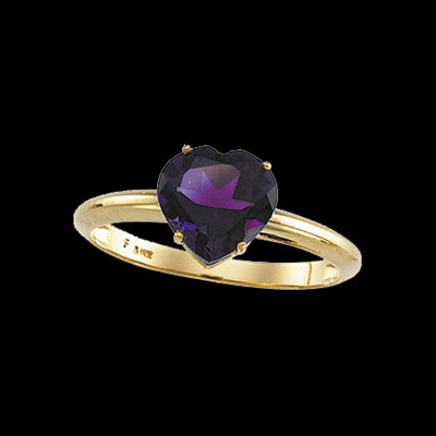 Amethyst Heart Gold Ring