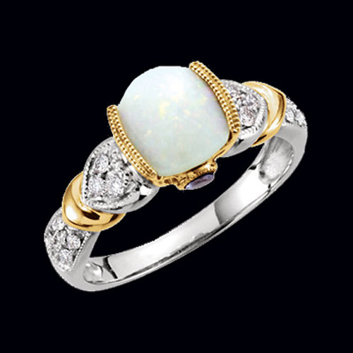 Opal, Tanzanite, and Diamond Ring