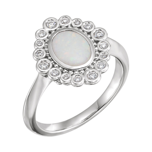 Opal Diamond Bubble Border Ring