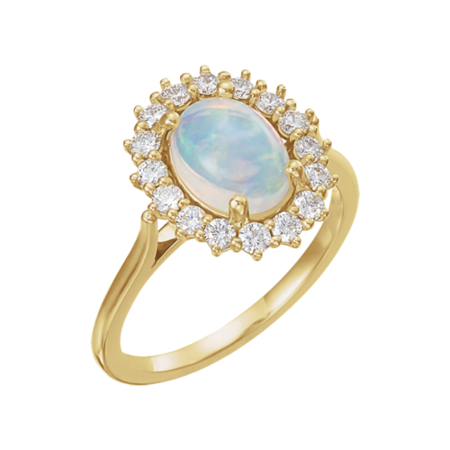 14k Gold Opal Diamond Ring