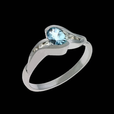 Aquamarine Pass Design Ring