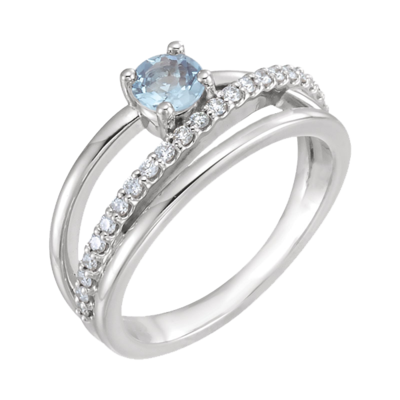 Contemporary Aquamarine Diamond Ring