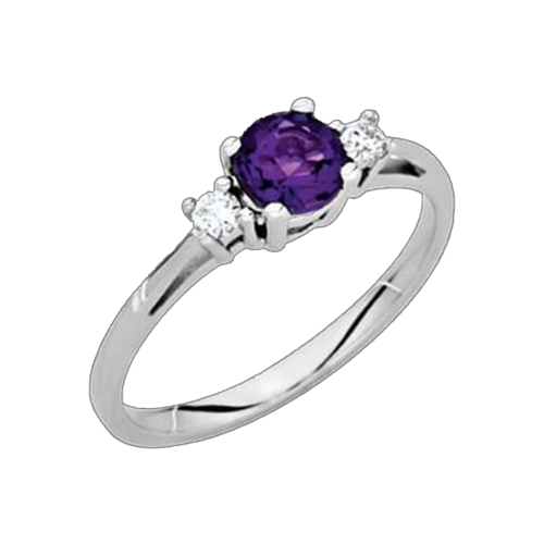 Amethyst Diamond Accent Ring