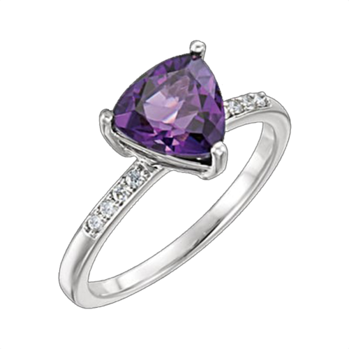 White Gold Amethyst Trillion Ring