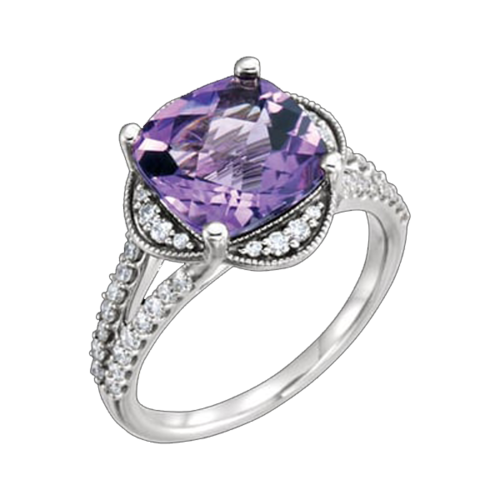 Checkerboard Amethyst Diamond Ring