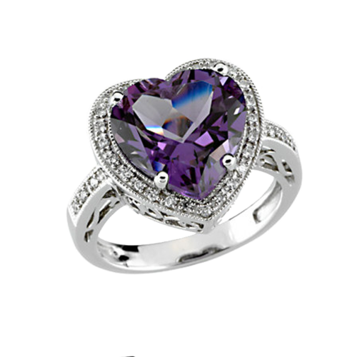 Heart Shaped Amethyst Diamond Ring