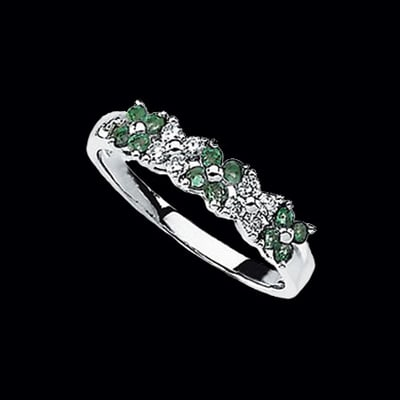 Genuine Emerald & Diamond Ring