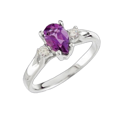 Amethyst Pear & Diamond Ring