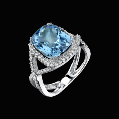 Beautiful Blue Topaz Diamond Ring