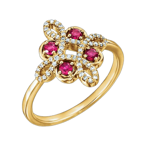 Ruby Diamond Clover Design Ring