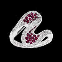 White Gold Diamond Ruby Swirl Ring