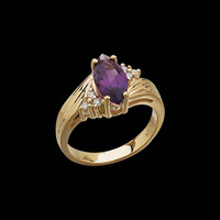 14k Gold Amethyst Diamond Ring
