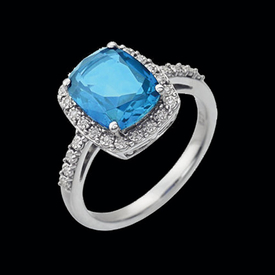 Blue Topaz Rings 14kt White Gold Blue Topaz Diamond Ring
