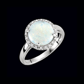 White Gold Opal Diamond Ring