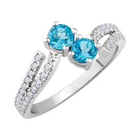 Blue Topaz Rings White Gold Swiss Blue Topaz & Diamond Ring