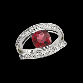 Diamond Garnet Ring