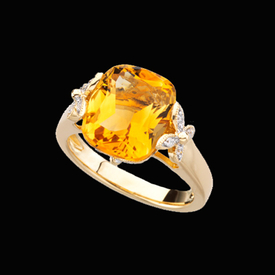Fantasy Citrine Diamond Ring