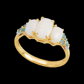 Opal Blue Topaz & Diamond Ring