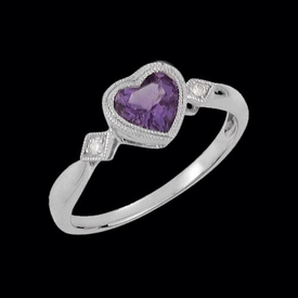 White Gold Amethyst Heart Ring