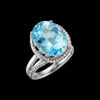 Stunning Swiss Blue Topaz Diamond Ring