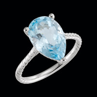 Sky Blue Topaz Rope Ring