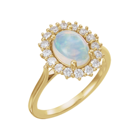 Opal Rings 14k Gold Opal Diamond Ring