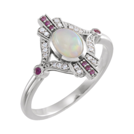 Opal Rings 14k Gold Opal, Sapphire, and Diamond Ring