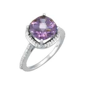 White Gold Amethyst Diamond Ring