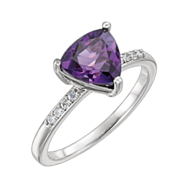 Amethyst Rings White Gold Amethyst Trillion Ring