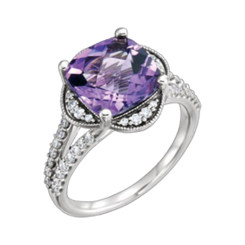 Amethyst Rings Checkerboard Amethyst Diamond Ring