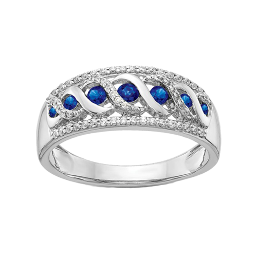 "14k White Gold ""S"" Style Sapphire Ring"