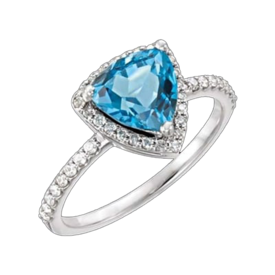 Blue Topaz Rings Brilliant Swiss Blue Topaz & Diamond Ring