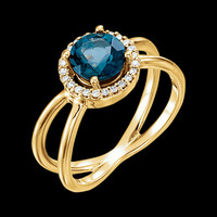 Split Shank London Blue Topaz Ring