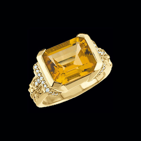 Citrine Rings Citrine & Diamond Ring