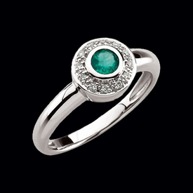 Round Emerald & Diamond Ring