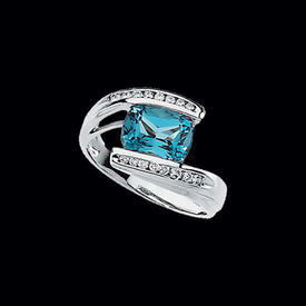 Swiss Blue Topaz & Diamond Ring