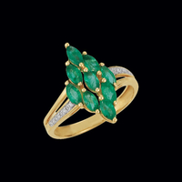 14k Gold Emerald & Diamond Ring