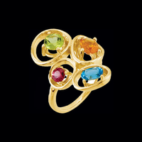 Multigemstone Gold Ring