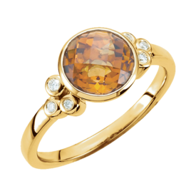 Citrine Rings Checkerboard Golden Citrine & Diamond Ring