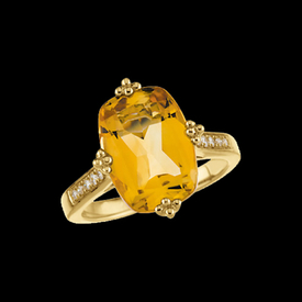 Gold Citrine & Diamond Ring