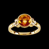Checkerboard Golden Citrine & Diamond Ring