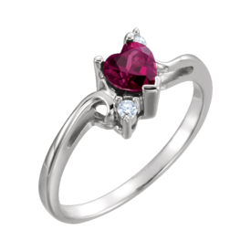 Garnet Heart White Gold Ring