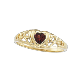 Garnet Heart Gold Ring