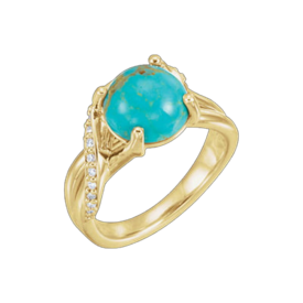 Other Gemstone Ring Turquoise Diamond Accent Ring
