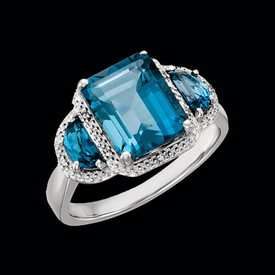 Blue Topaz Rings White Gold Large London Blue Topaz Ring